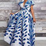 Peacock Print Empire Waist Maxi Dress Ladies Elegance