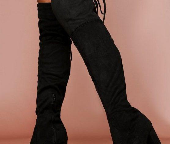 black thigh boots high
